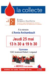 Affiche Collecte de sang JO - 25 mai 2017